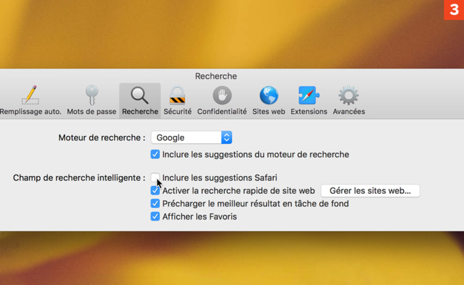 [Safari] Désactivez les suggestions de Safari lors d'une recherche