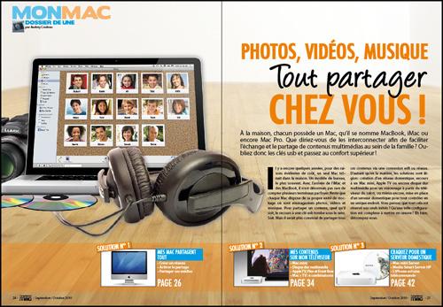MON MAC • DOSSIER DE UNE • Photos, vidéos, musique, tout partager chez vous !
