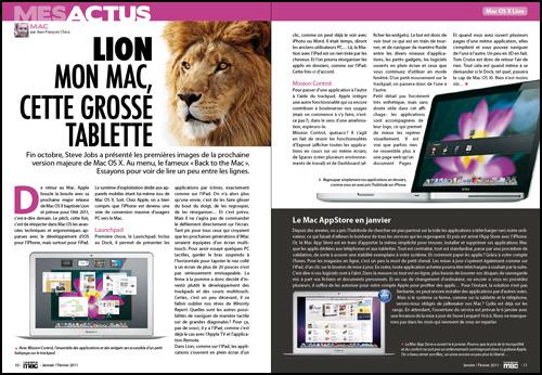 MES ACTUS • Lion. Mon Mac, cette grosse tablette