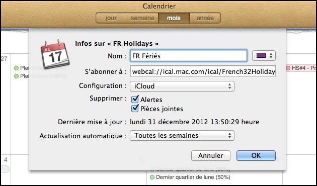 Calendrier • S'abonner à des calendriers spécifiques