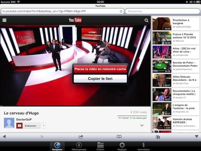 Enregistrer les vidéos Youtube sur l'iPad