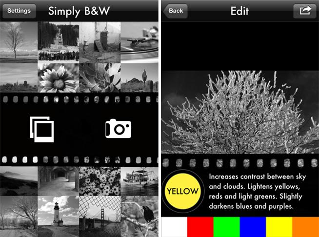 Une appli dédiée au traitement photo Noir & Blanc sur iPhone et iPad