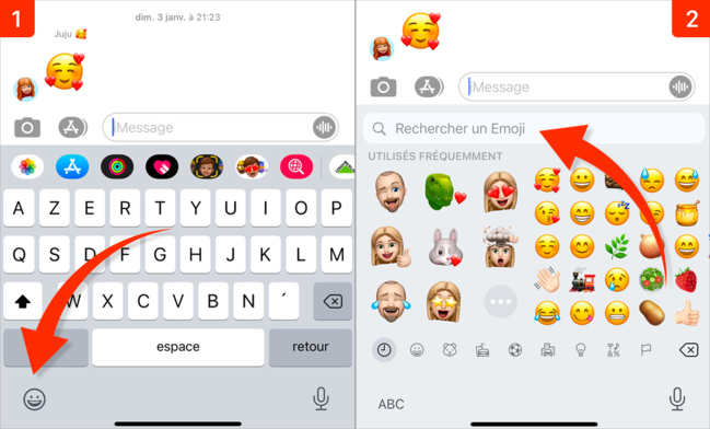 iOS 14 • Rechercher rapidement un emoji dans le clavier