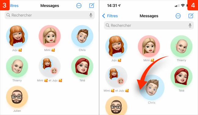 iOS 14 • Épingler et organiser les conversations dans Messages