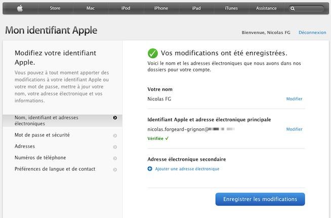 Changer l'adresse e-mail de votre identifiant Apple