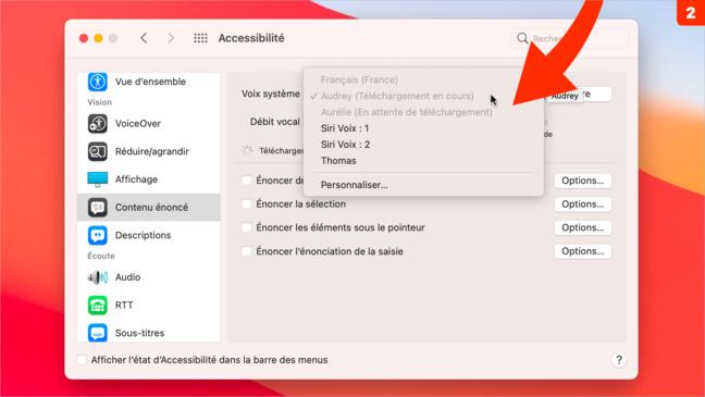 Accessibilité •Faites lire le contenu à l'écran par votre Mac