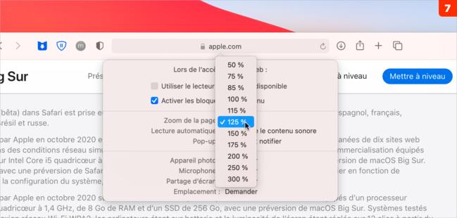macOS •Ajustez les réglages de chaque site web visité avec Safari