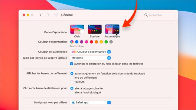 Astuce •Passez automatiquement du mode sombre au mode clair sur votre Mac
