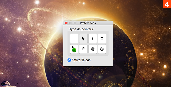 Si vous avez choisi un curseur dans les préférences, il sera inclus lors de la capture, même si vous utilisez la fonction de minuterie.