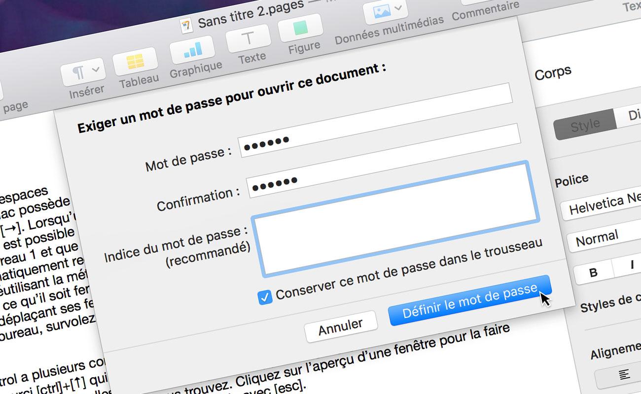 [Pages] Protégez un document en le verrouillant à l'aide d'un mot de passe
