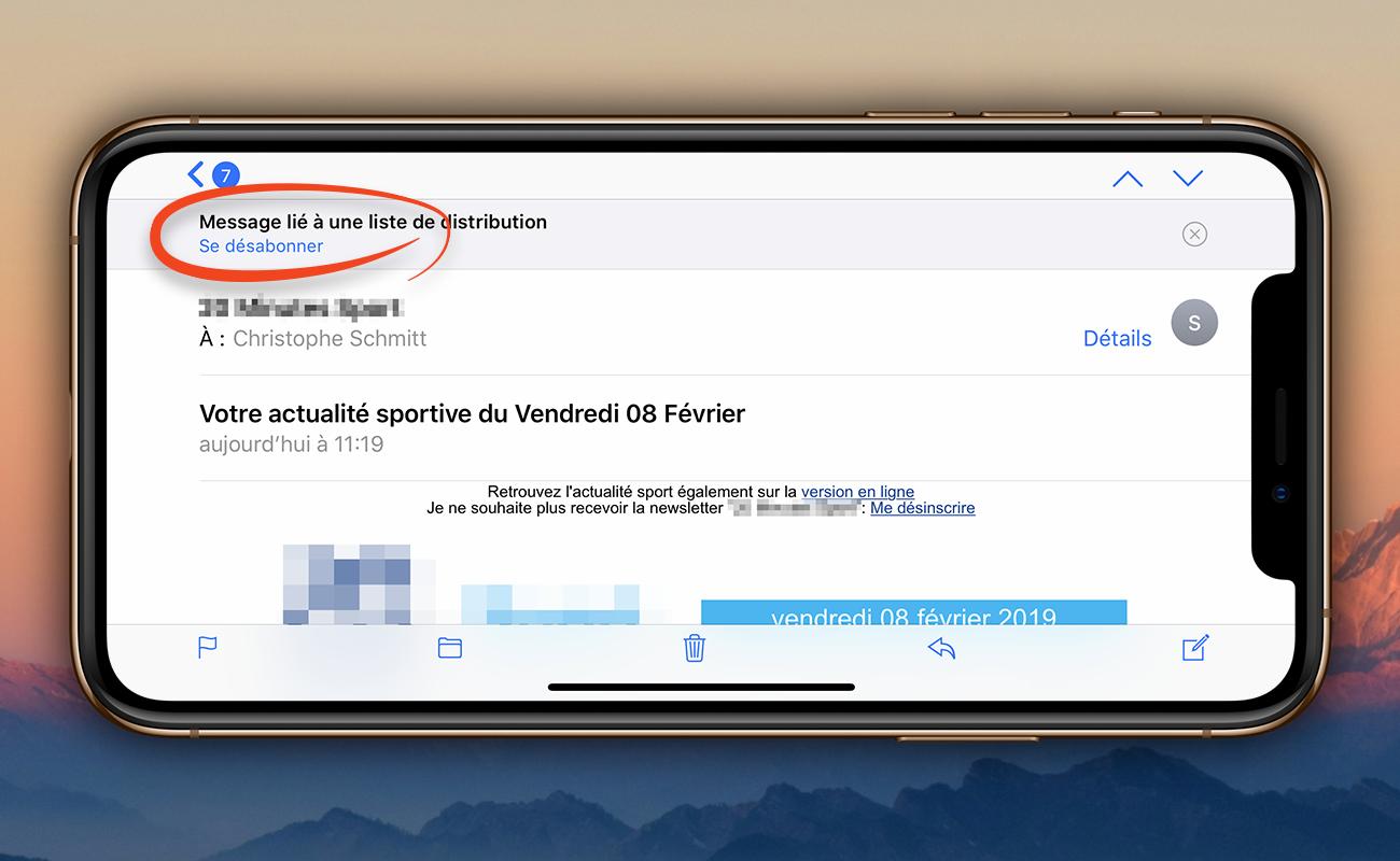 [SPAM] Désabonnez-vous d'une liste de diffusion depuis Mail sur iPhone