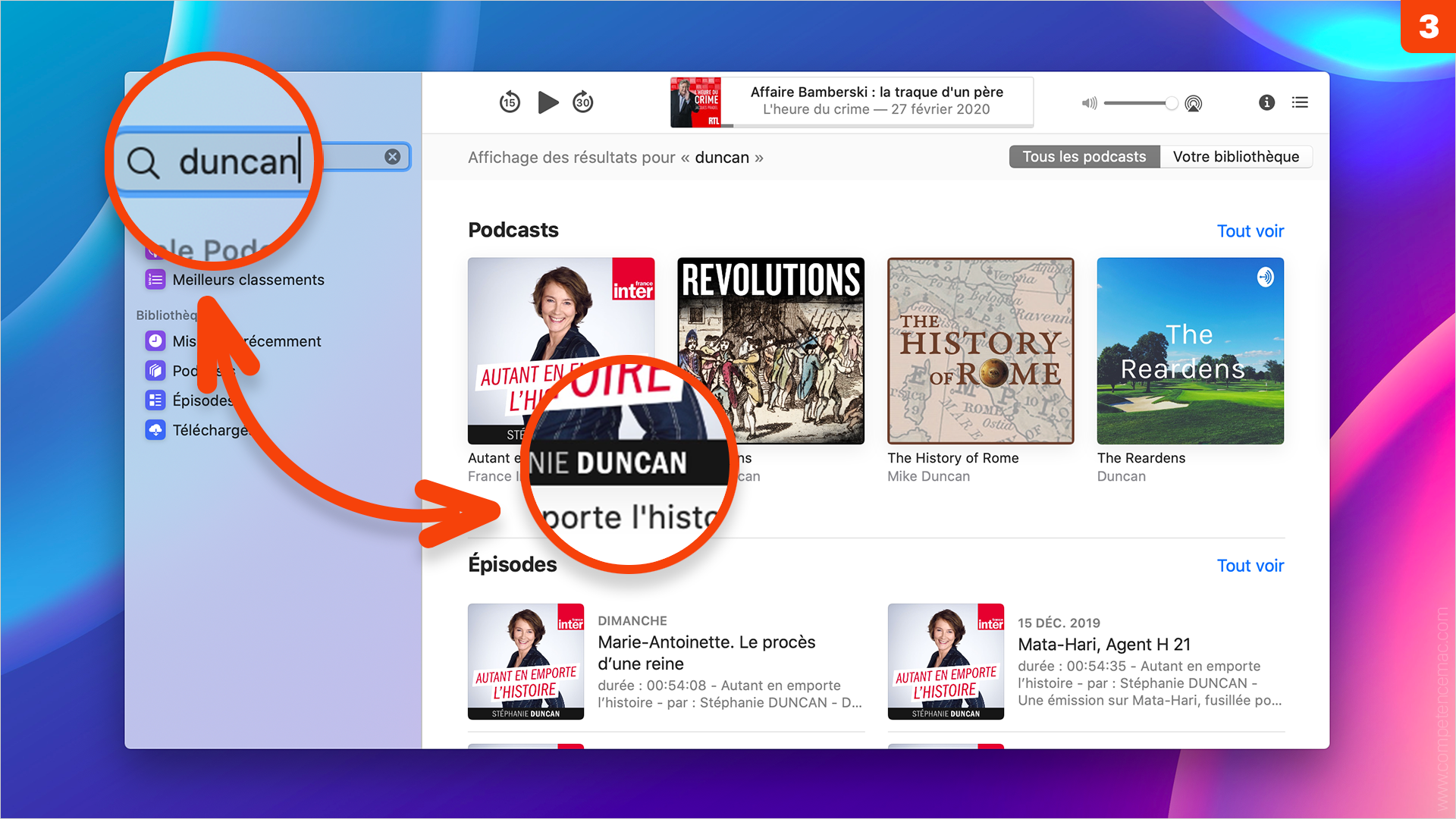 macOS Catalina • S'abonner à une émission avec la nouvelle application Podcasts