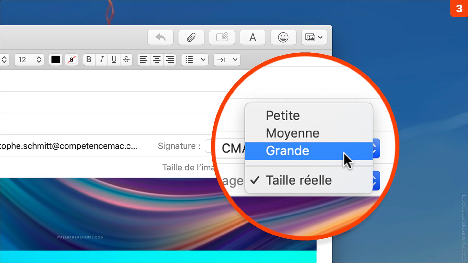 Taille de fichier • Réduisez le volume des pièces jointes dans Mail