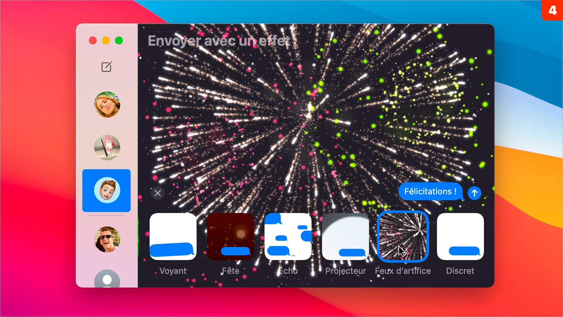 macOS 11 •Profitez pleinement des effets de messages comme depuis un iPhone