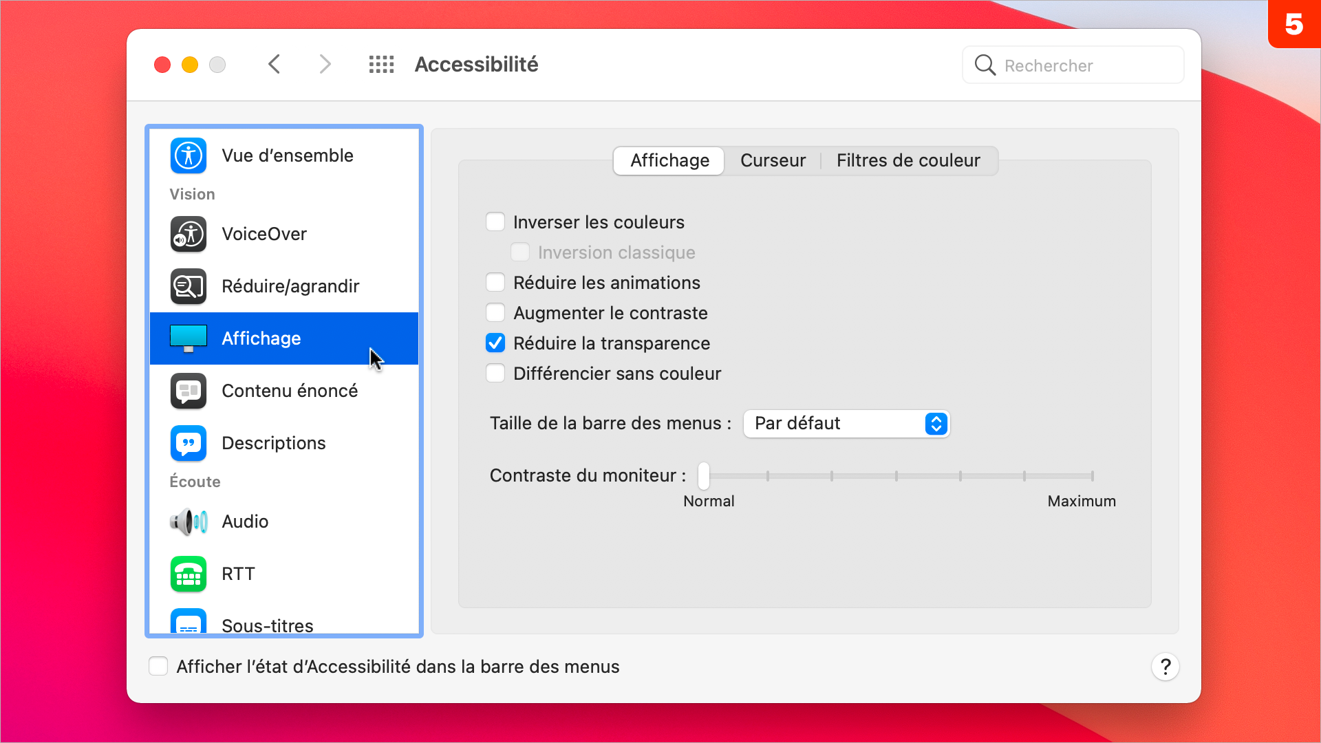 macOS •Comment désactiver la transparence des fenêtres